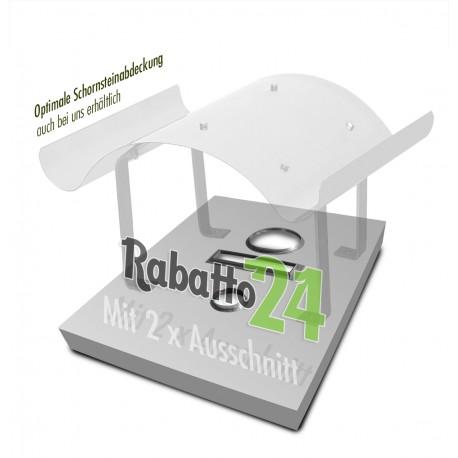 Schornsteinabdeckung- Schornsteinkopfeinfassung-Deckel 1,0mm Sonderanfertigung mit 2 x Ausschnitt