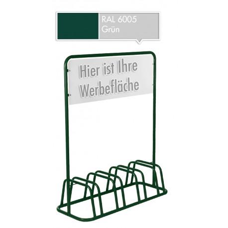 4er Fahrradständer Werbeschild Werbetafel Fahrradhalter Fahrradparker Grün