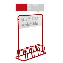 4er Fahrradständer Werbeschild Werbetafel Fahrradhalter Fahrradparker Rot